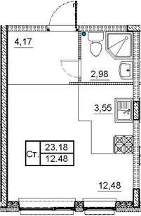 Студия, 23.18 м²