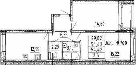 2-комнатная, 54.42 м²– 2