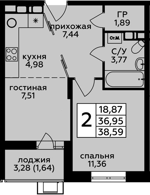 1-к.кв, 38.59 м²