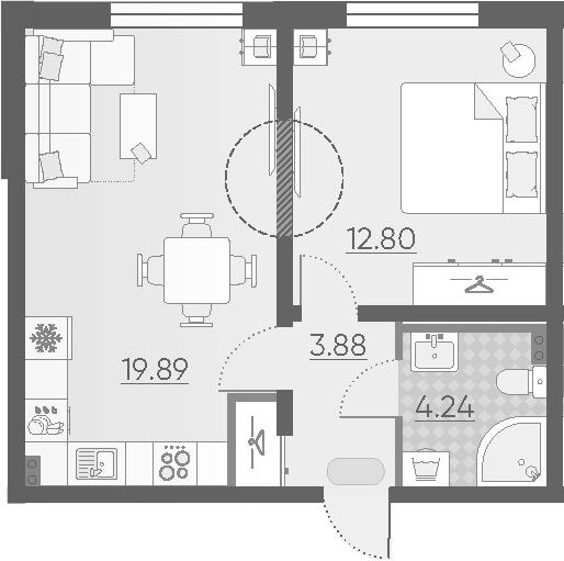 2-к.кв (евро), 40.81 м²