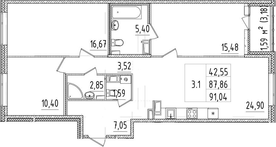 4-к.кв (евро), 91.04 м²
