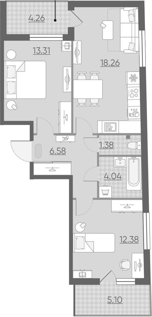 3Е-к.кв, 60.63 м², 2 этаж