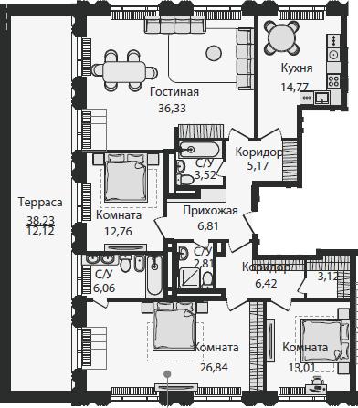 4-к.кв, 149.74 м²
