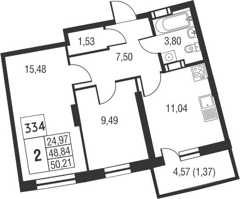 2-комнатная, 50.21 м²– 2