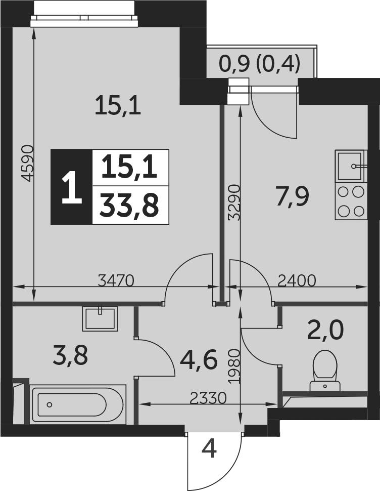 1-к.кв, 34.2 м²