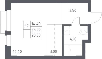 Студия, 25 м²– 2
