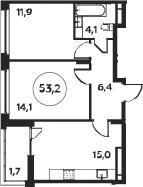 3Е-к.кв, 53.2 м², 14 этаж