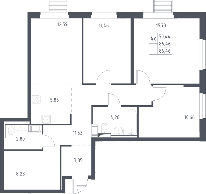 5Е-комнатная, 86.46 м²– 2