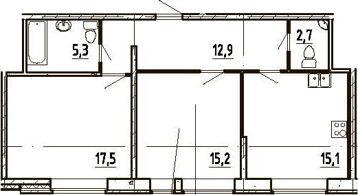 3Е-к.кв, 68.7 м²