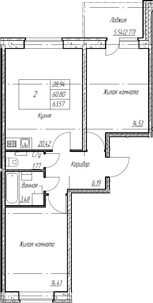 3Е-комнатная, 63.57 м²– 2