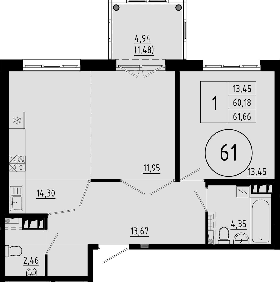 2-к.кв (евро), 65.12 м²