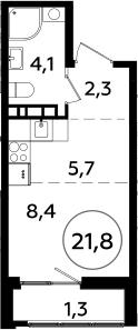 Студия, 21.8 м²