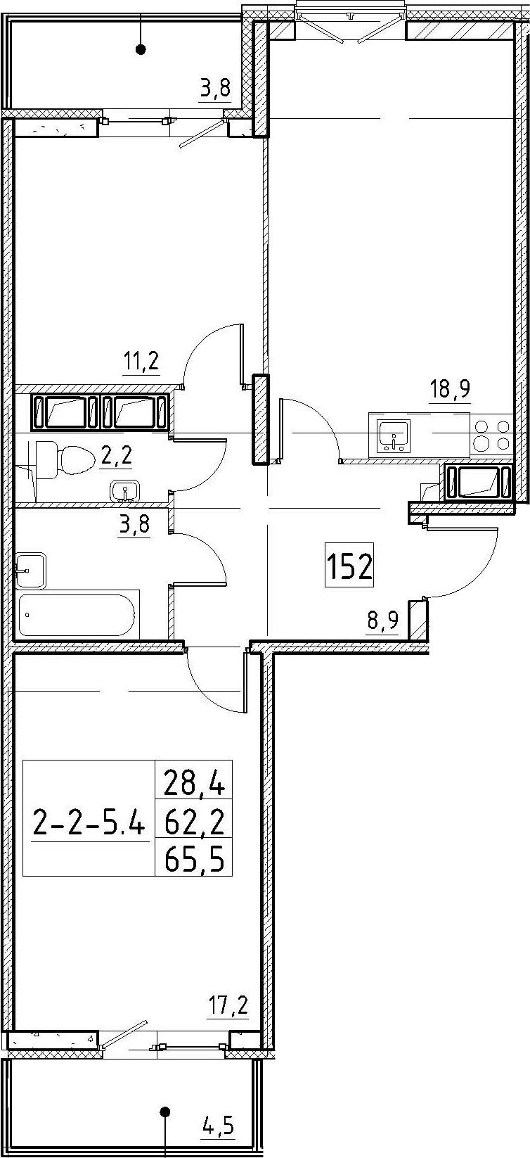 3Е-к.кв, 65.5 м², 2 этаж