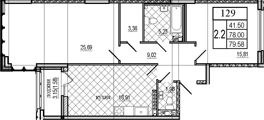 3Е-к.кв, 79.58 м²