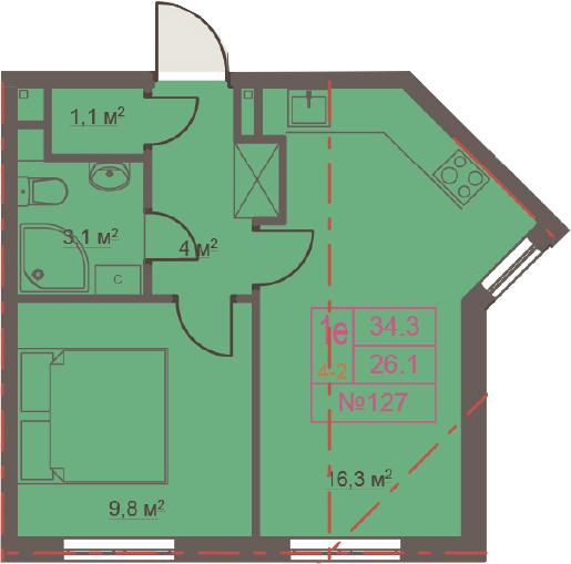 2-к.кв (евро), 34.3 м²