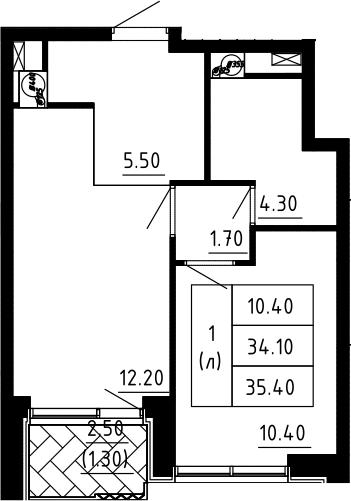 1-к.кв, 35.4 м², 11 этаж