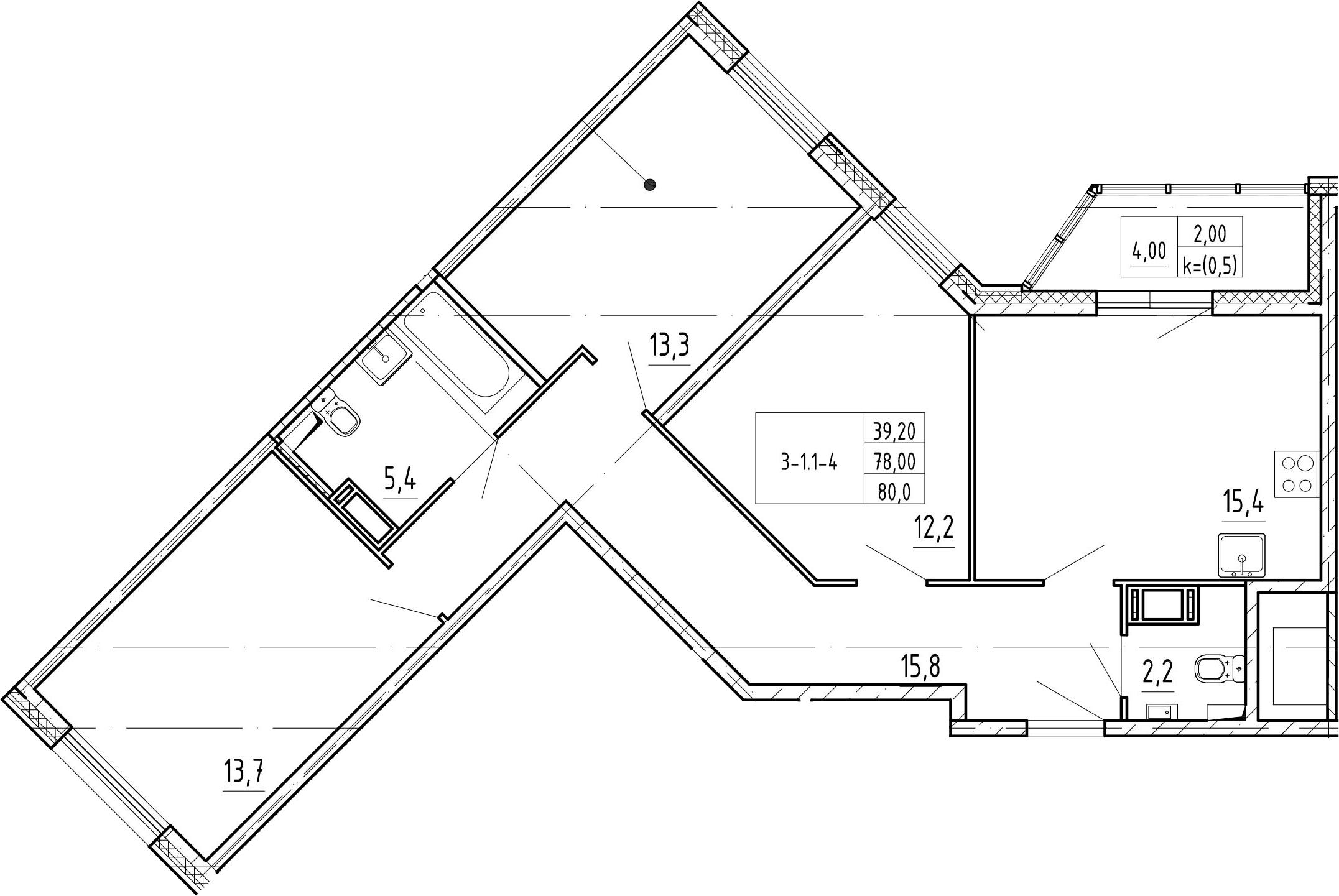 4Е-комнатная, 80 м²– 2