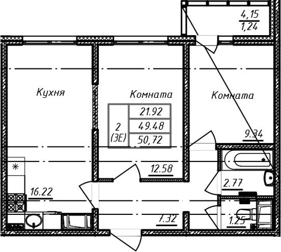 3Е-к.кв, 50.72 м²