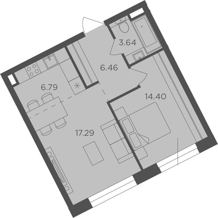 2Е-комнатная, 48.58 м²– 2