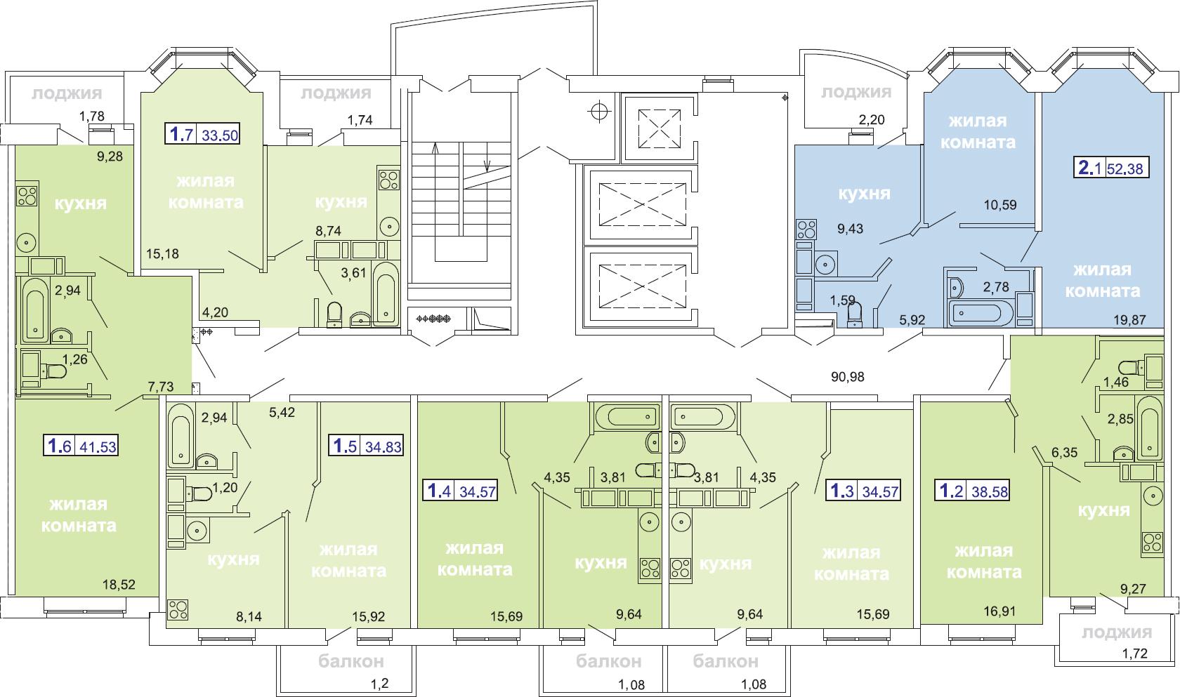 2-комнатная, 52.39 м²– 2