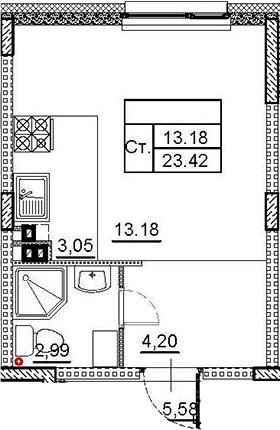 Студия, 23.42 м², 3 этаж