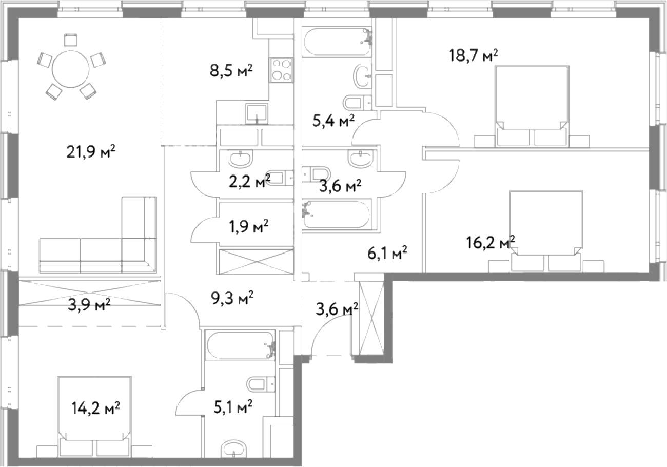4Е-комнатная, 120.6 м²– 2