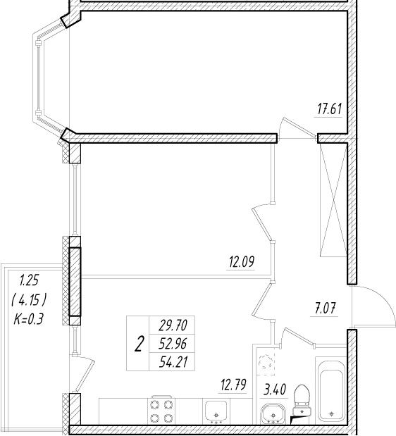 2-к.кв, 57.11 м²