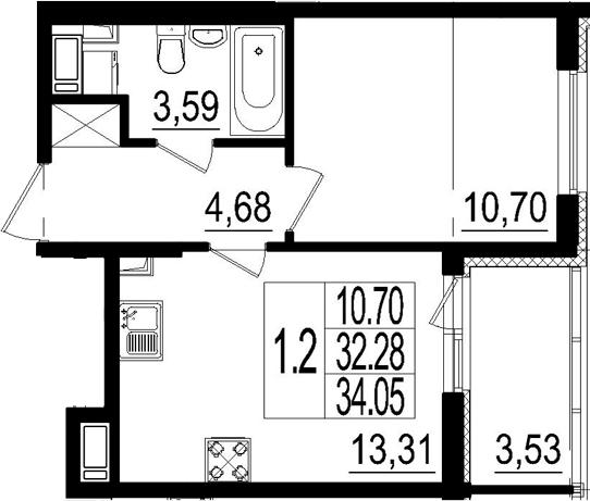 2Е-к.кв, 32.28 м²