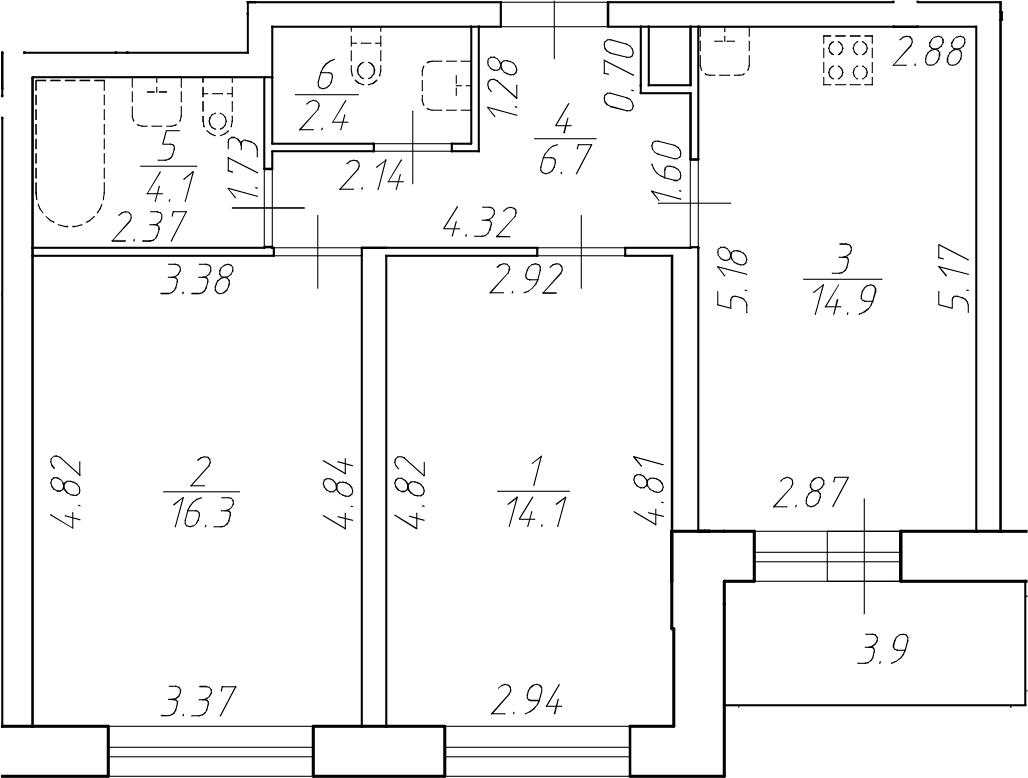 2-к.кв, 58.5 м²