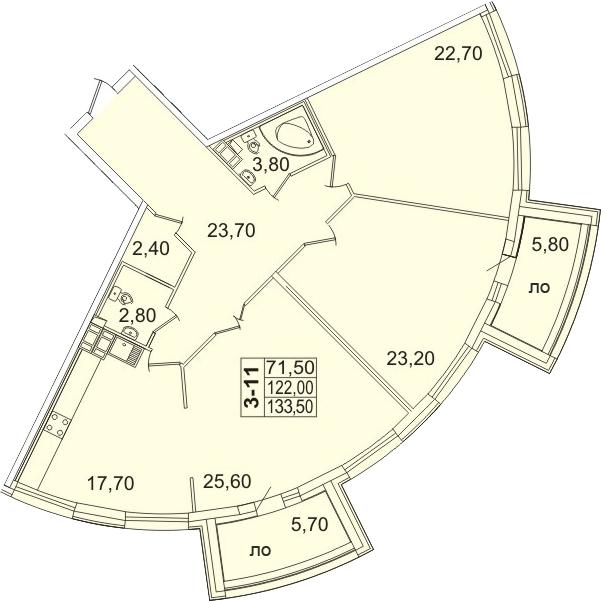 4-к.кв (евро), 135.59 м²