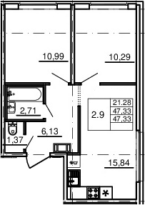 3Е-к.кв, 47.33 м², 2 этаж