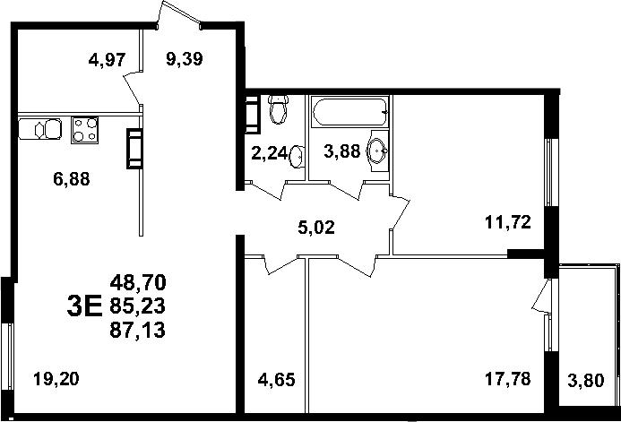 3-к.кв (евро), 89.03 м²