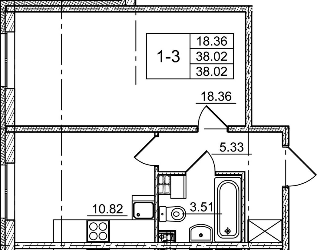 1-к.кв, 38.02 м²