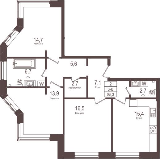 3-к.кв, 85.3 м²