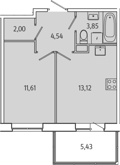 1-комнатная, 36.75 м²– 2