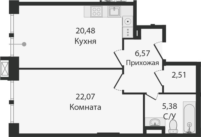 2Е-комнатная, 57.01 м²– 2
