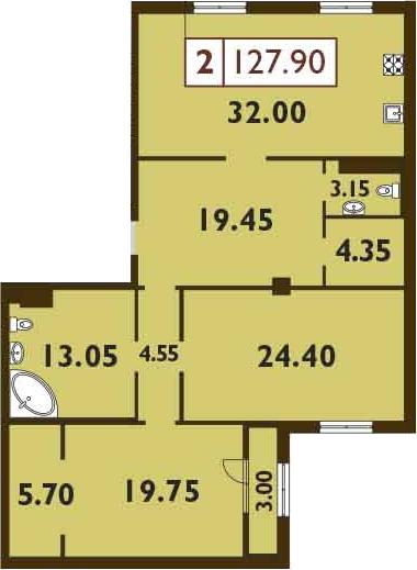 3-к.кв (евро), 129.4 м²