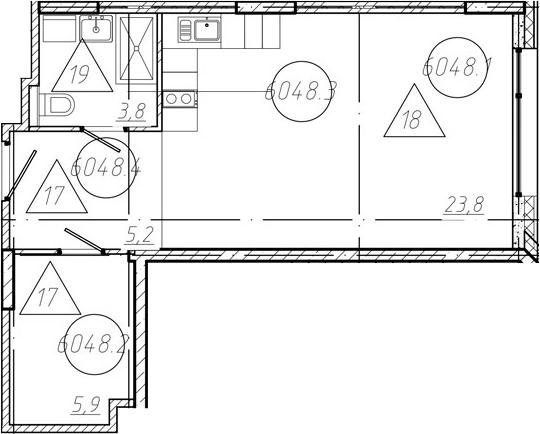 Студия, 38.64 м²