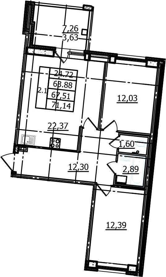 3-к.кв (евро), 71.14 м²