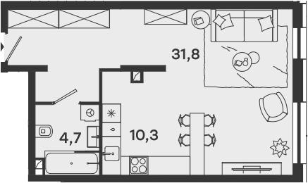Студия, 46.8 м²