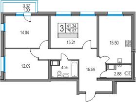 4Е-к.кв, 79.57 м², от 2 этажа
