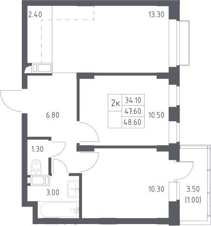 3Е-к.кв, 48.6 м²