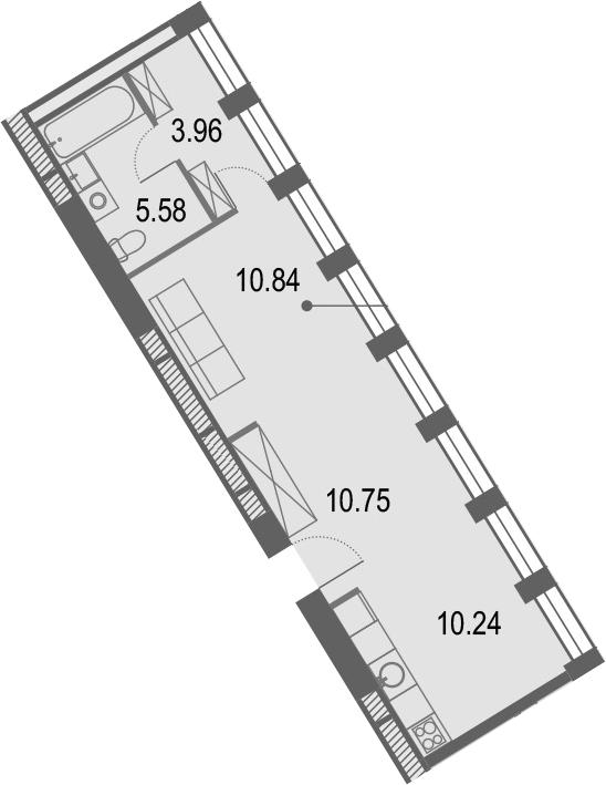 Студия, 41.37 м²