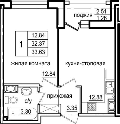 1-к.кв, 34.89 м²