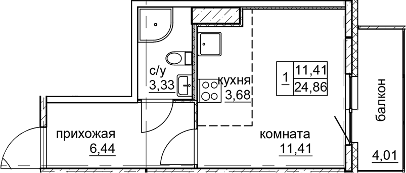 Студия, 24.86 м²