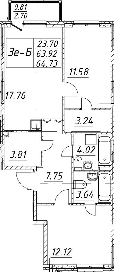 3Е-к.кв, 64.73 м², 1 этаж