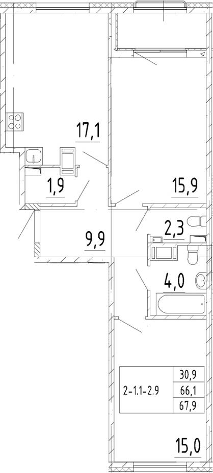 3Е-комнатная, 67.9 м²– 2