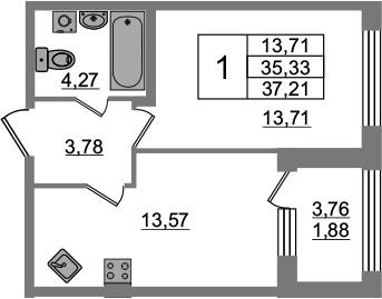 1-к.кв, 39.09 м²
