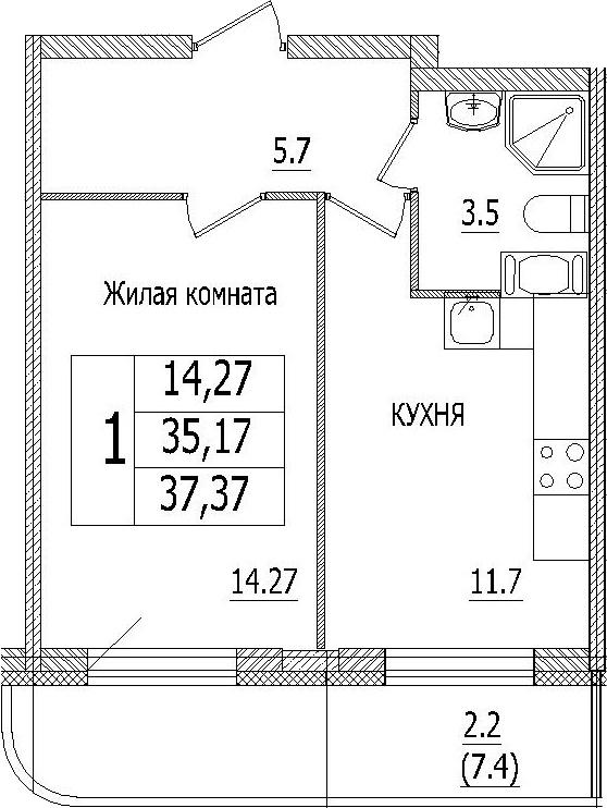 1-к.кв, 42.5 м²