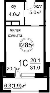 Студия, 35.43 м²